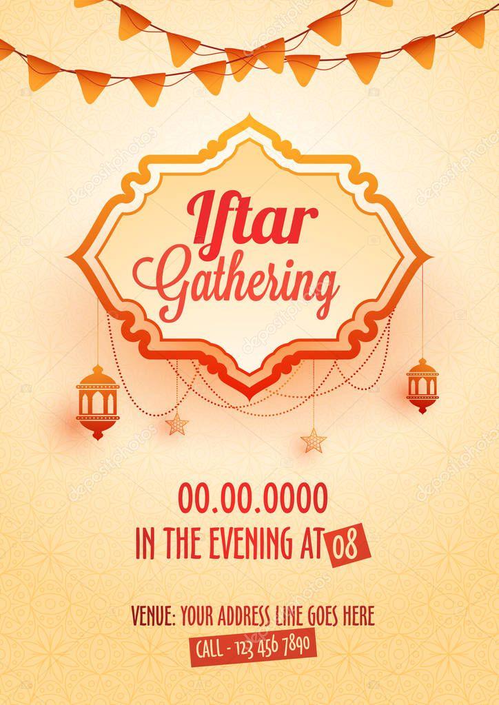 iftar gathering invitation card design hanging lanterns