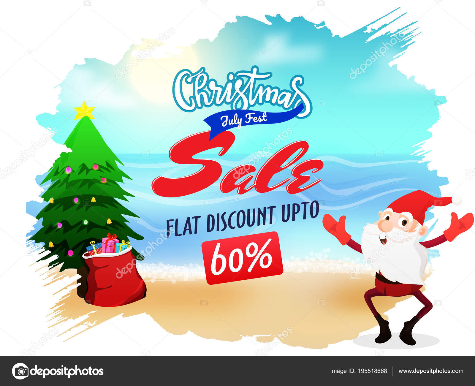 Christmas sale in July poster banner or flyer design with Santa