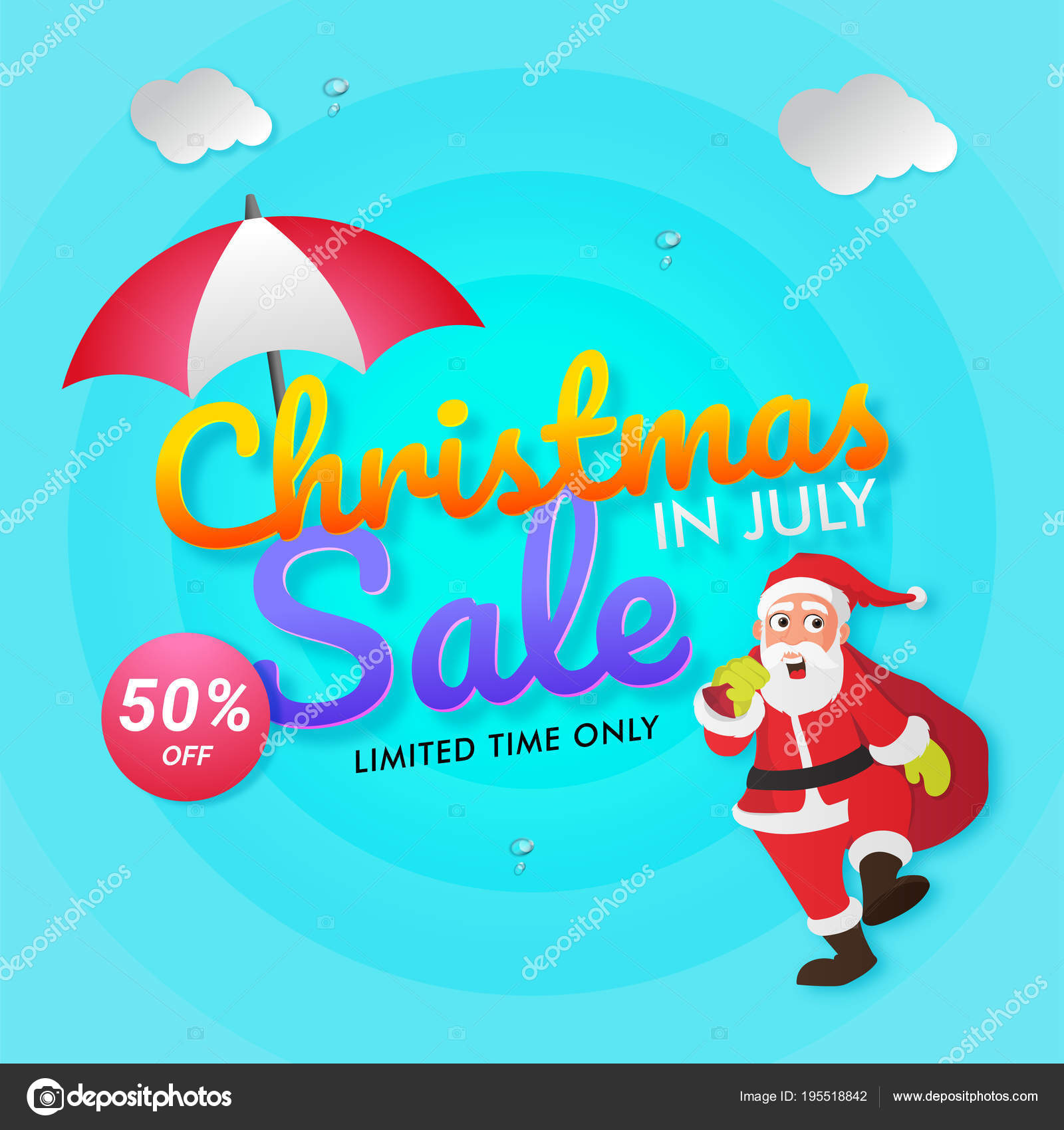 Christmas In July Santa Clipart.Christmas In July Sale Poster Banner Or Flyer Design With