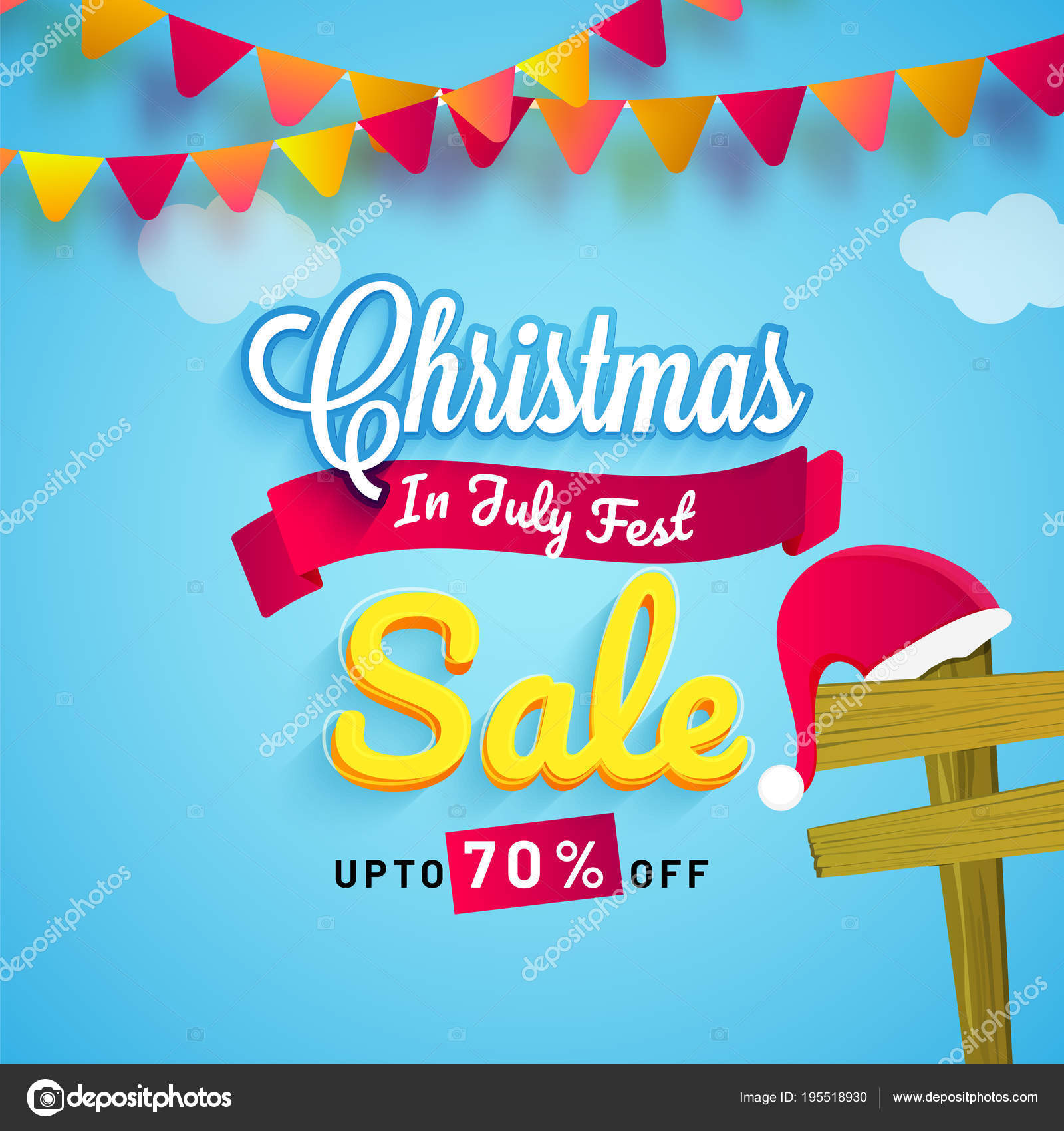 Christmas in July fest sale banner poster or flyer design with