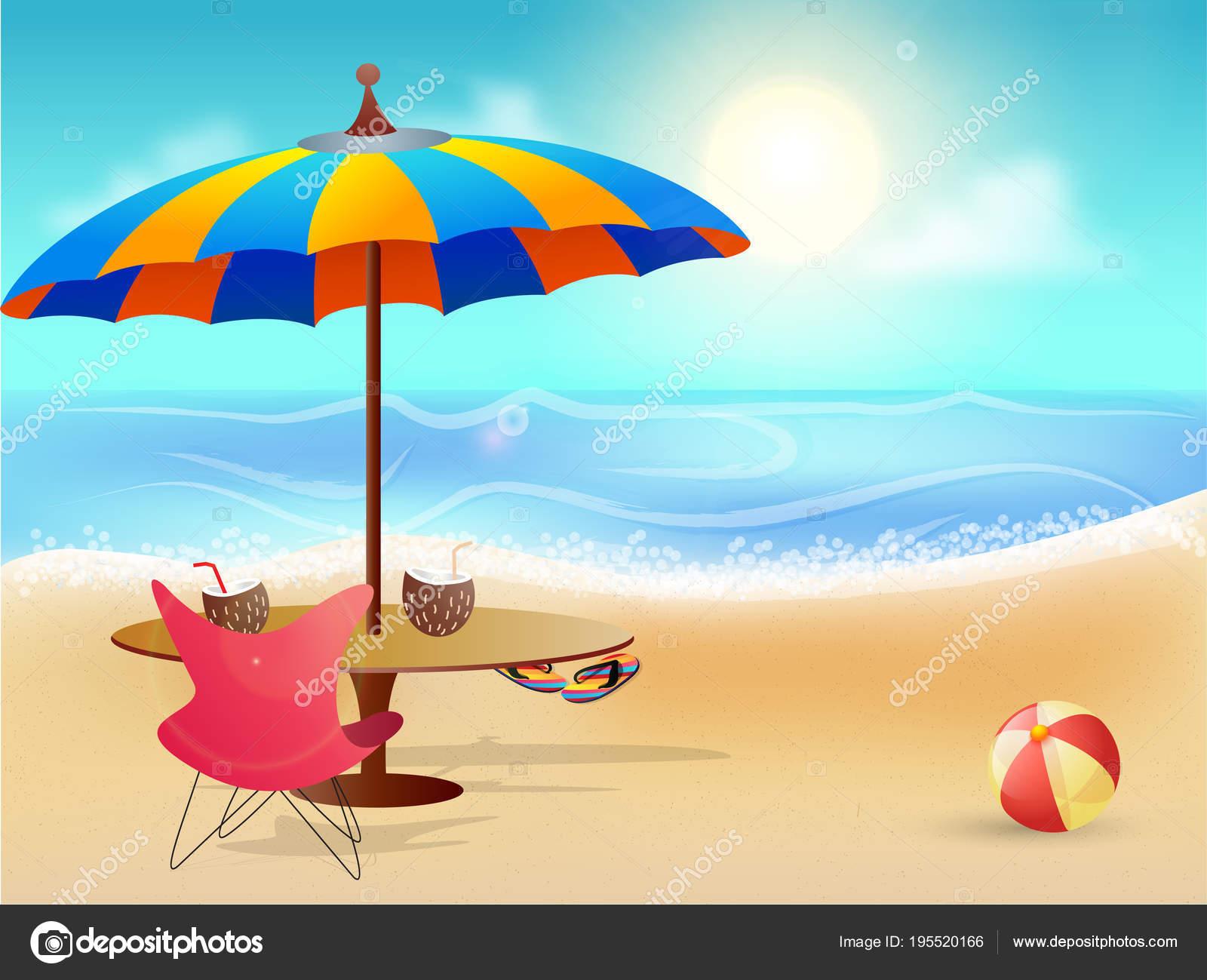 Sonnenschirm strand comic  Sommer Strand Hintergrund mit Sonnenschirm, Tisch und Stuhl ...