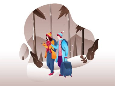 Tourist man discuss to woman with luggage bag on winter landscap