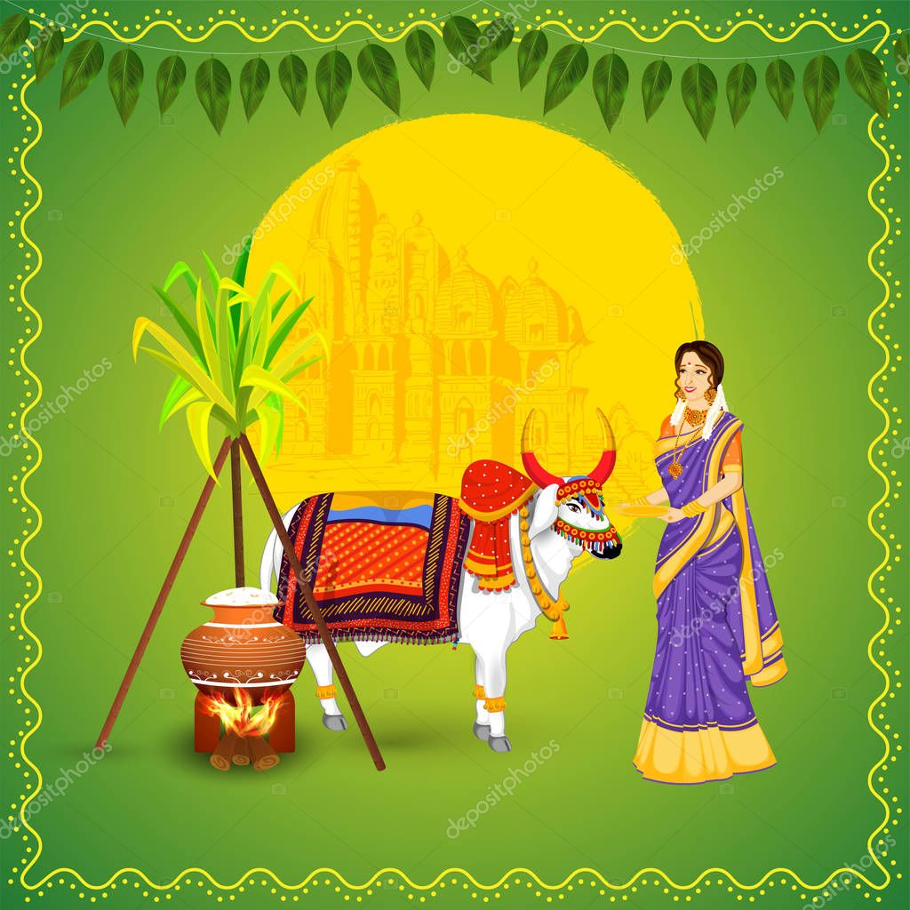 Indian Woman With Ox Animal Sugarcane Rice Cooking In Mud Pot And Temple On Green Background For Happy Pongal Celebration Premium Vector In Adobe Illustrator Ai Ai Format Encapsulated