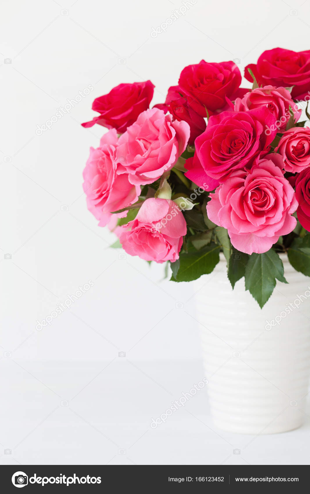 Beautiful Red Rose Flowers Bouquet In Vase Over White Stock Photo Image By C Duskbabe 166123452