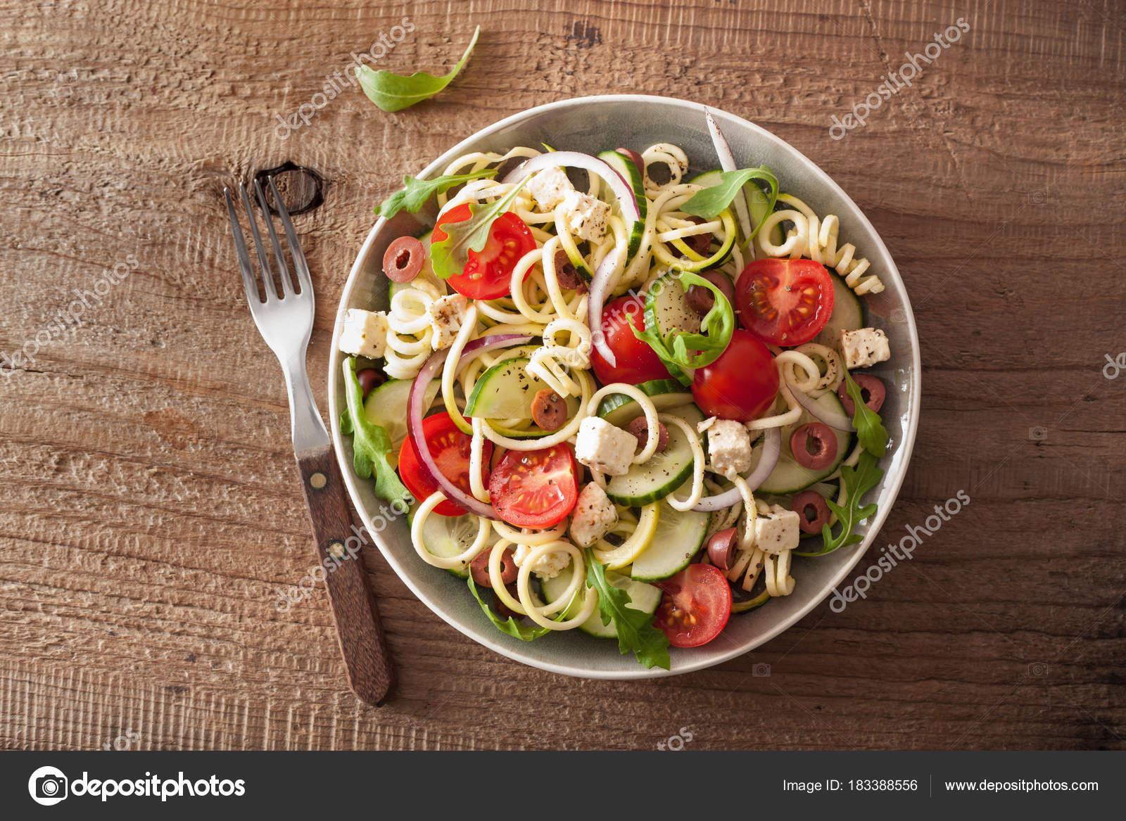 Spiralized Courgette Salad Greek Style With Tomato Feta Olives C Stock Photo Image By C Duskbabe 183388556