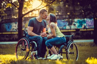 Peaceful handicapped young couple