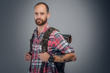Bearded traveller male with backpack