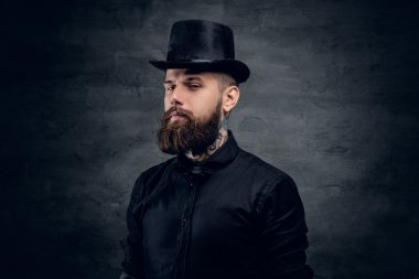 Bearded male with top hat cylinder