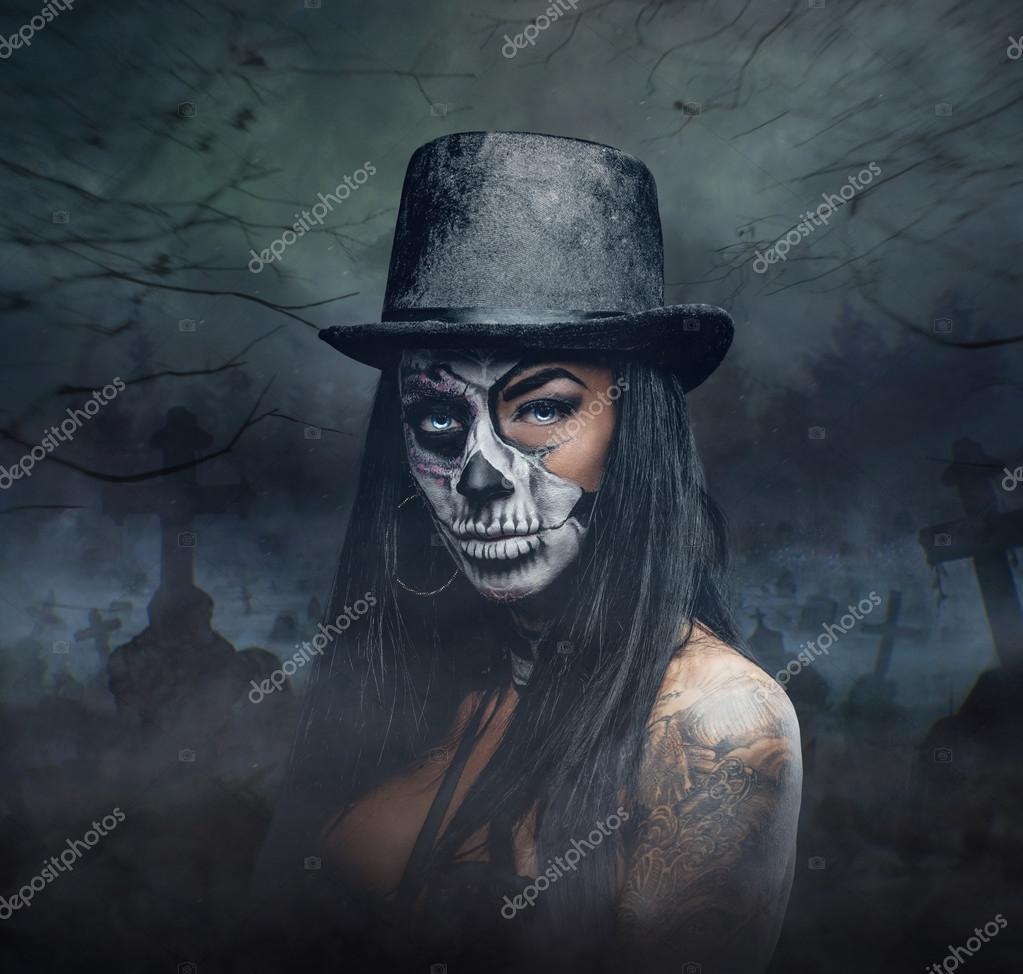 Female with skull make up