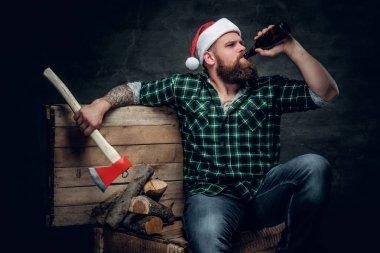 Fatty bearded man in Santa's hat