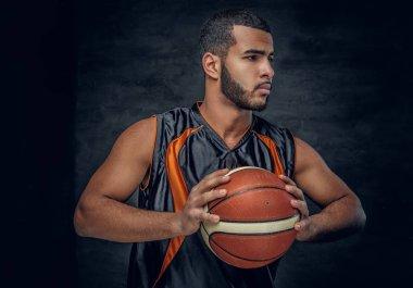 Black man with basket ball