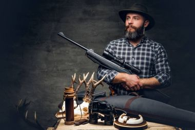 Bearded traditional hunter