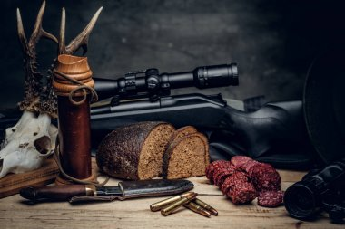 Retro hunting ammunition on a wooden table