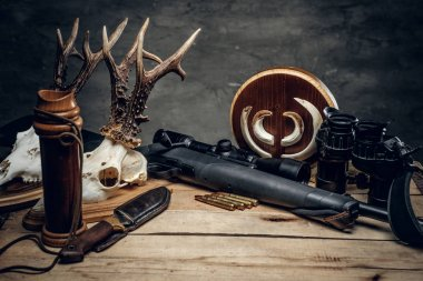 Retro hunting ammunition of rifle and binoculars