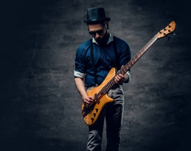 Hipster bass player