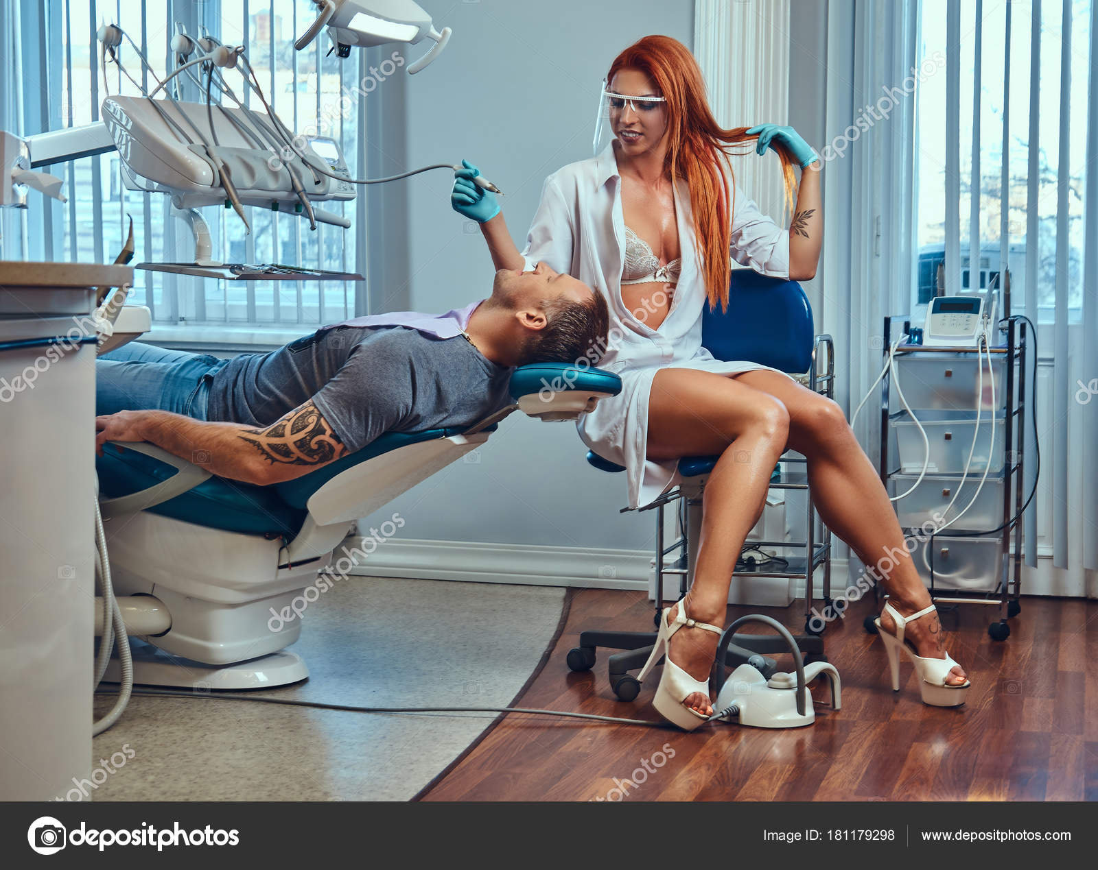 hot office pic. A Sexy Hot Redhead Dentist Woman, At Work In The Office, Taking Care Of Her Patient. \u2014 Photo By Fxquadro Office Pic