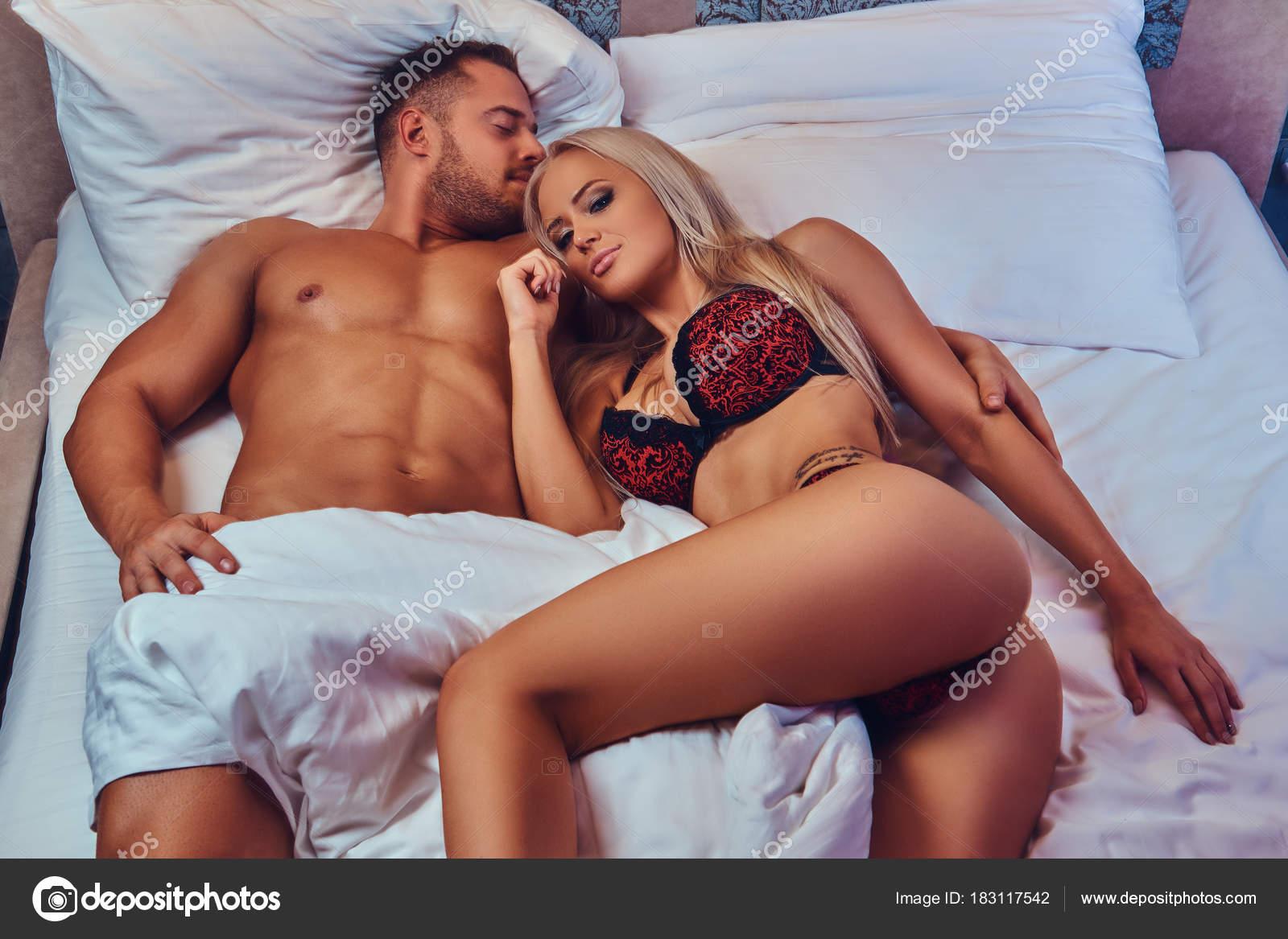Sexy Couple Portrait Sexy Husband Wife Relaxing Bed Honeymoon