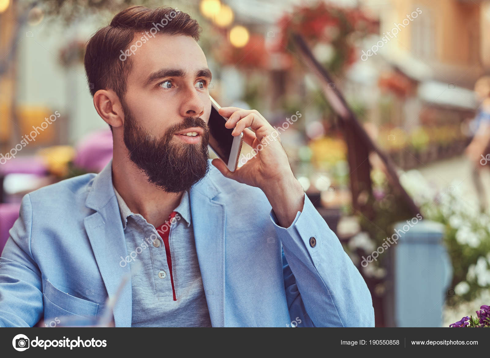 Close Up Portrait Of A Fashionable Bearded Businessman With A