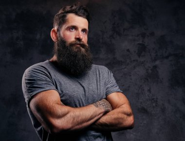 Close-up portrait of a hipster with full beard and stylish haircut, dressed in a gray t-shirt, stands with crossed arms in a studio on a dark background.