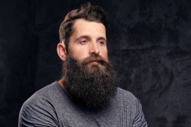 Close-up portrait of a hipster with full beard and stylish haircut, dressed in a gray t-shirt, stands in a studio on a dark background.