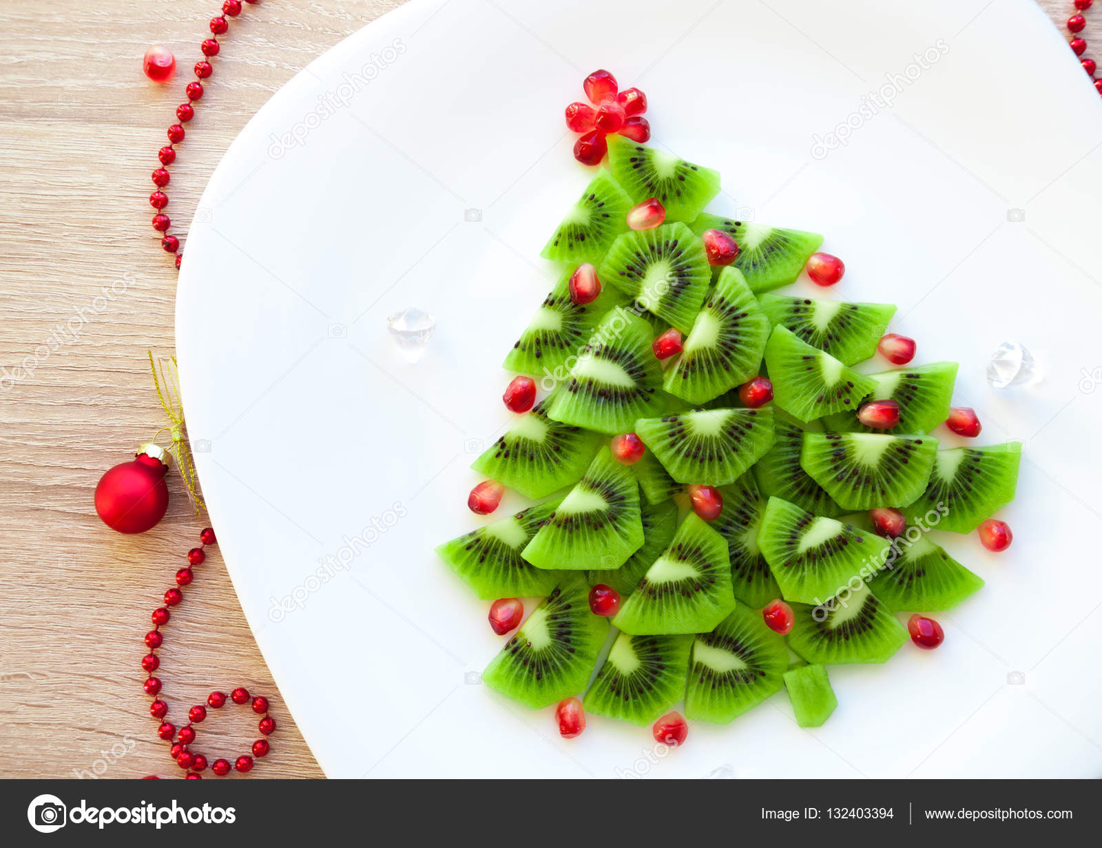 fruit kiwi christmas tree new year food background top view blank space for text
