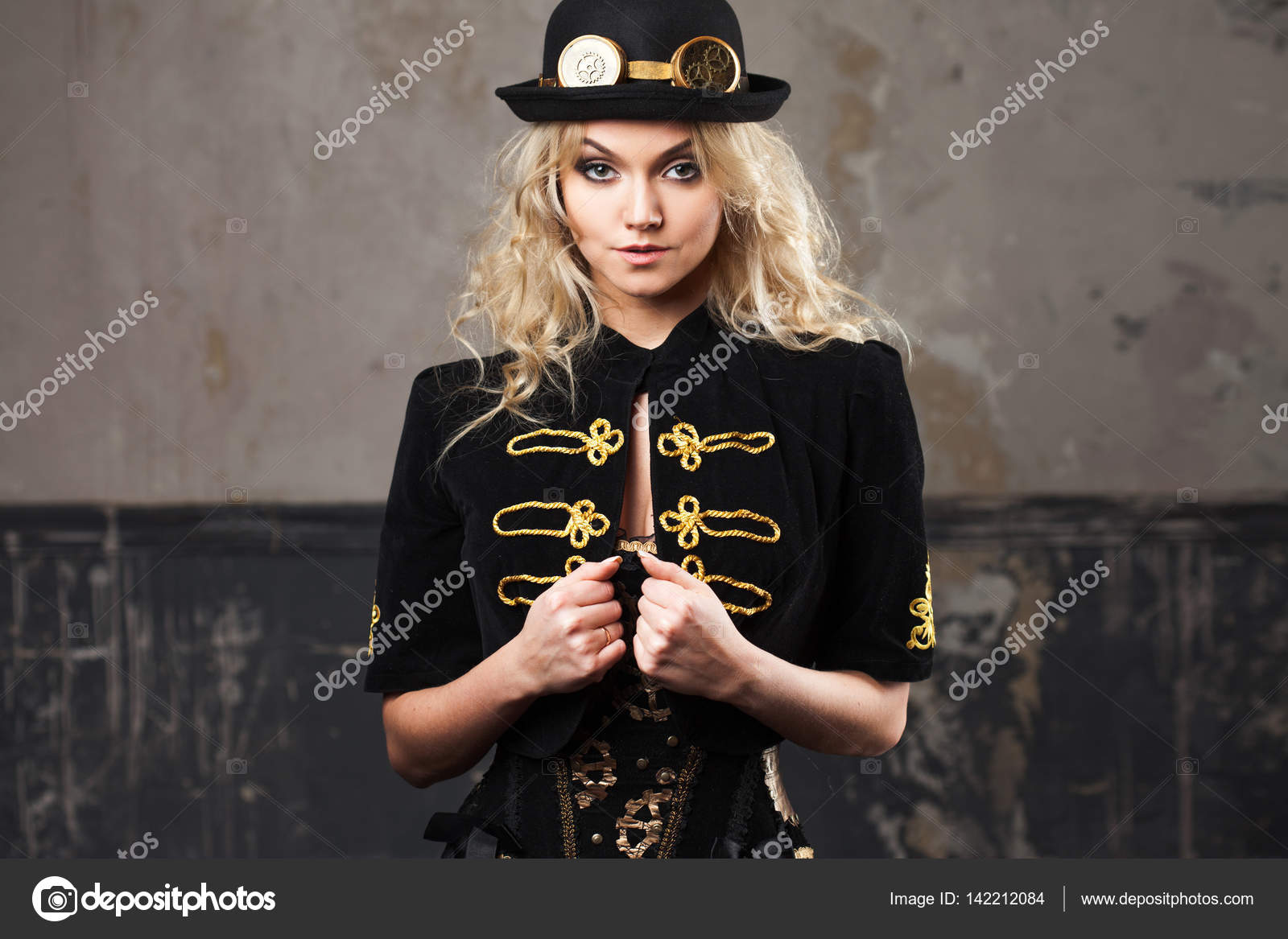 204f7ecd9aa Portrait of a beautiful steampunk woman hat-bowler hat over grunge  background. — Stock