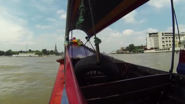 BANGKOK, 11 OCTOBER, 2013: Traditional Thai boat with great speed sailing  on river 11 October 2013 in Bangkok, Thailand