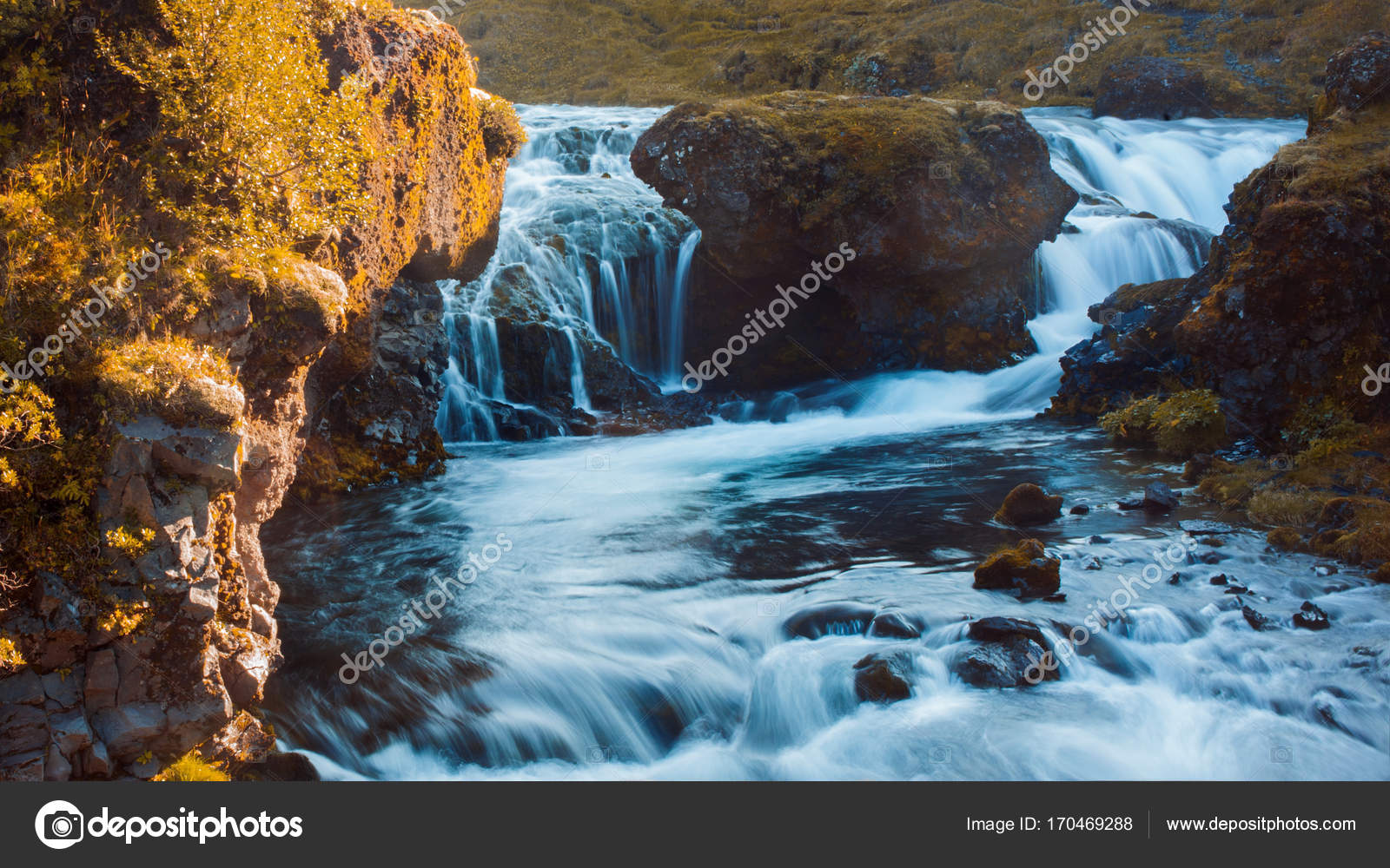 Iceland Mountain River With Rapids And Waterfalls Beautiful Scenery Stock Photo
