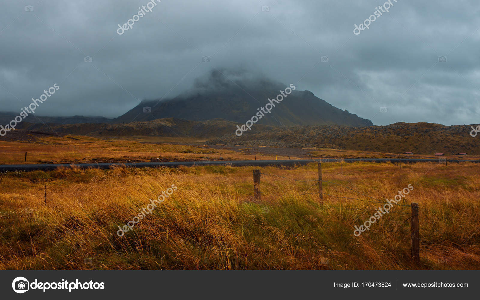 Landscape of Iceland, fog and rain  A journey into a far