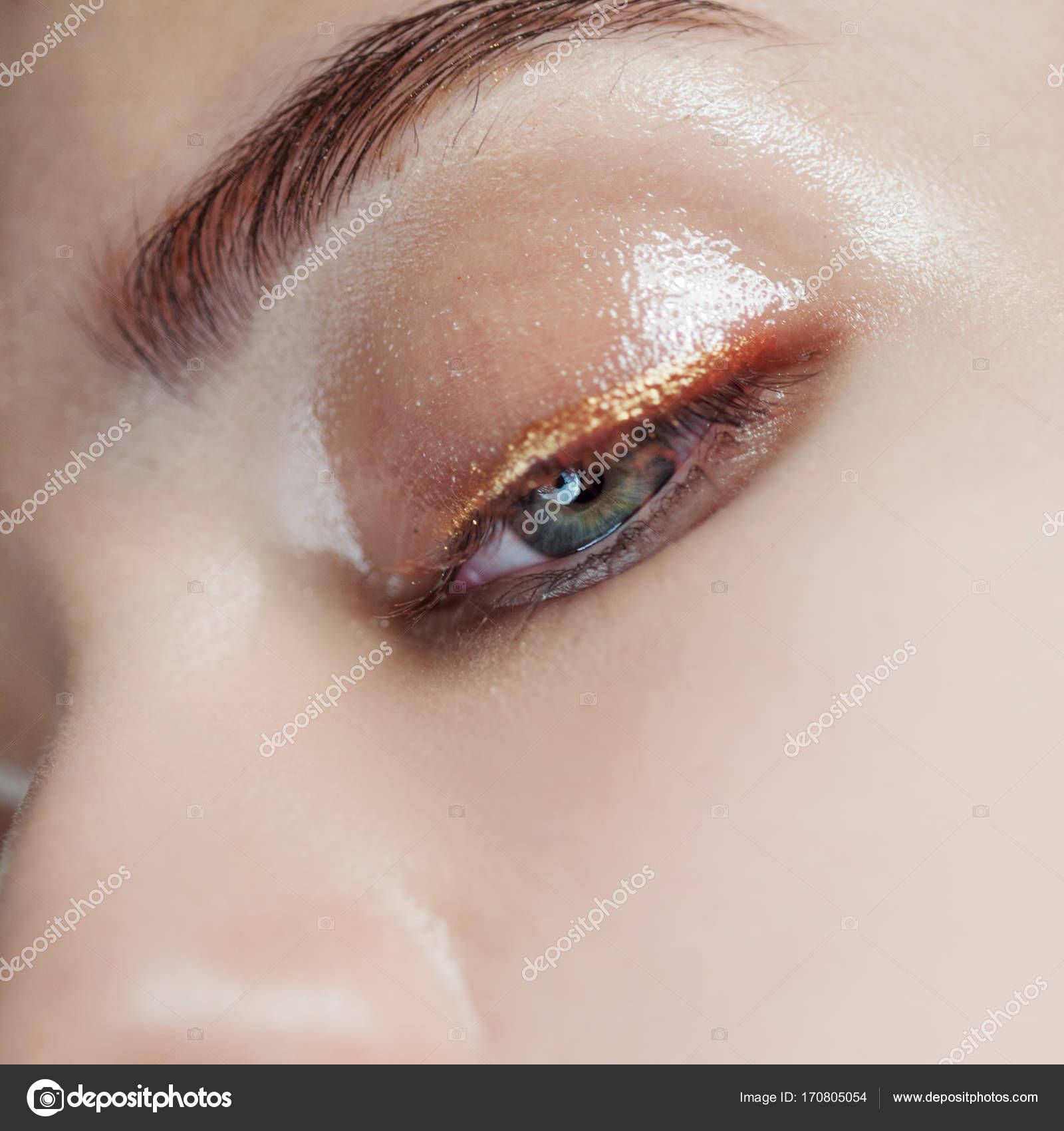 Eye Closeup Wet Makeup Shining Arrows Stock Photo Kriscole