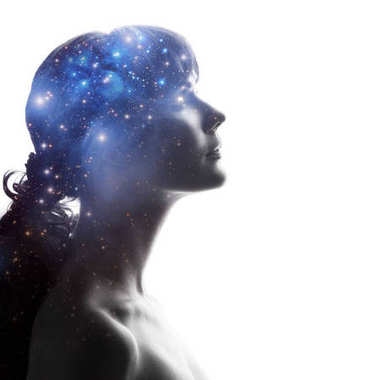 Profile of a woman with the cosmos as a brain. The scientific concept. The brain and creativity
