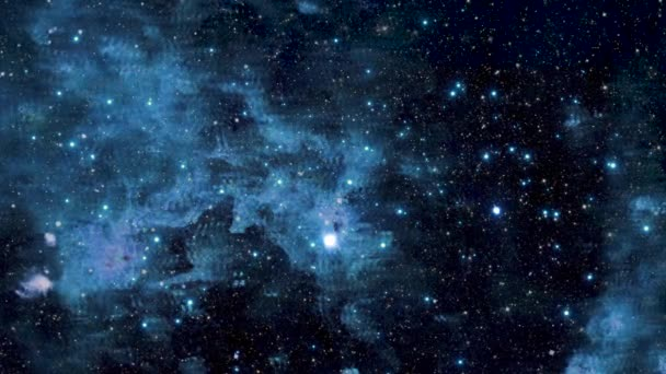 Blue star nebula, interstellar space, space with shining stars,