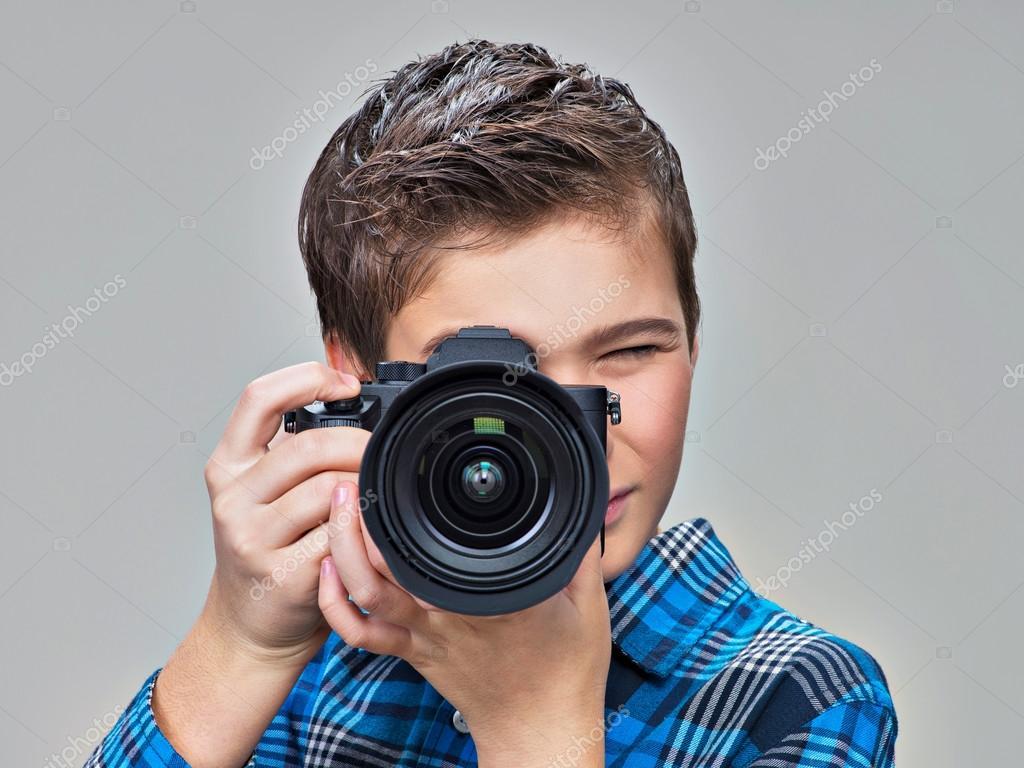 Boy With Photo Camera Stock Photo Valuavitaly 125060716