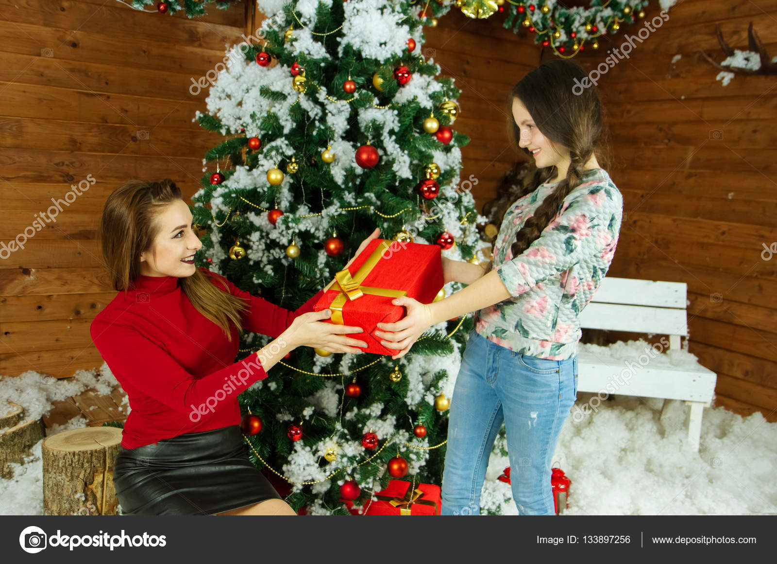 Family Christmas Gift Giving.Gift Giving In The Family Stock Photo C Irina1977 133897256