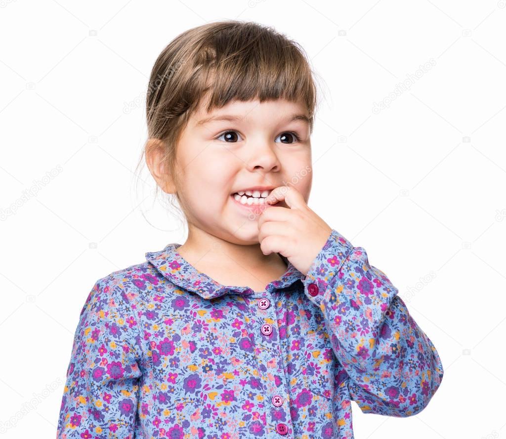 Emotionales Porträt von kleinen Mädchen — Stockfoto © DenisNata ...