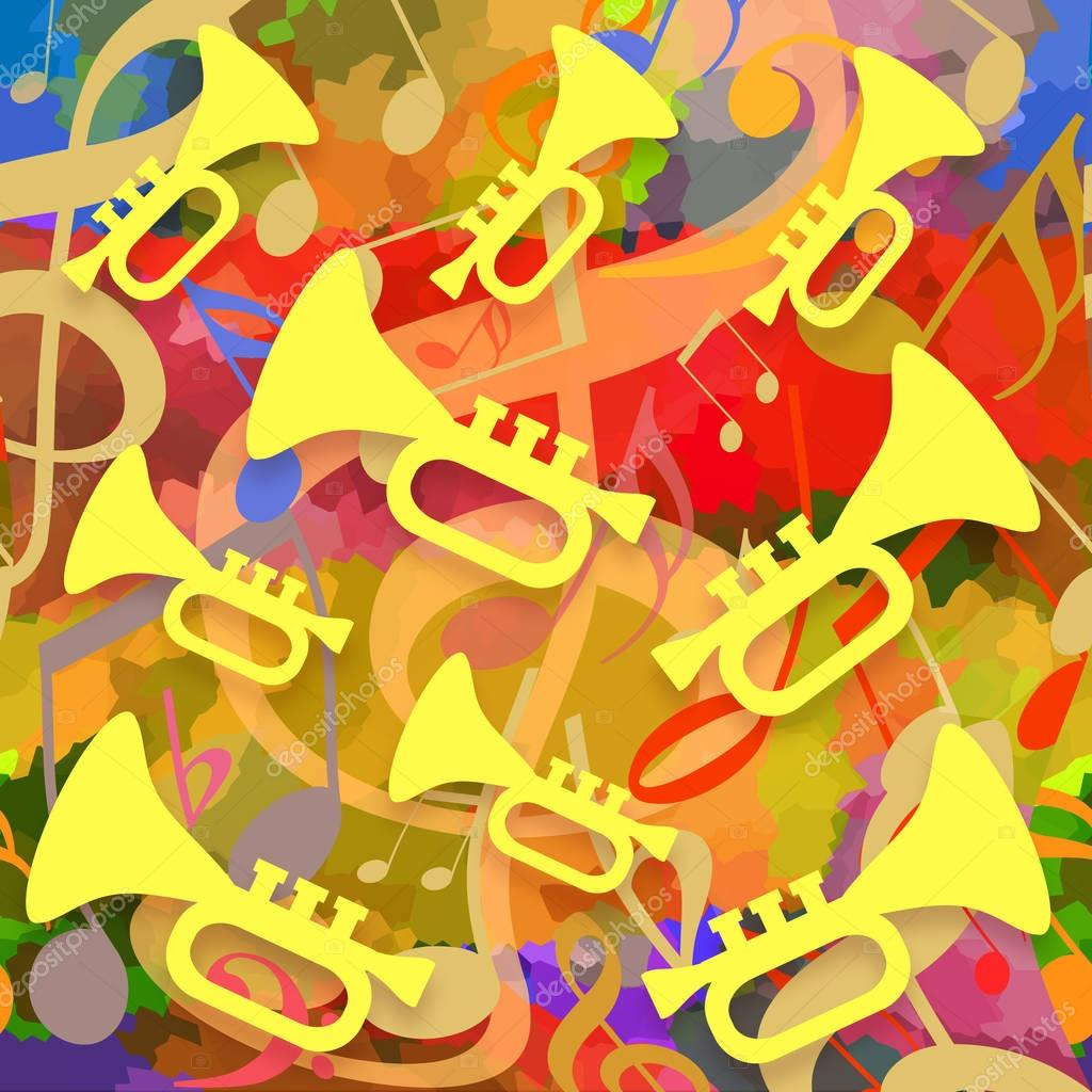 Music background with trumpets