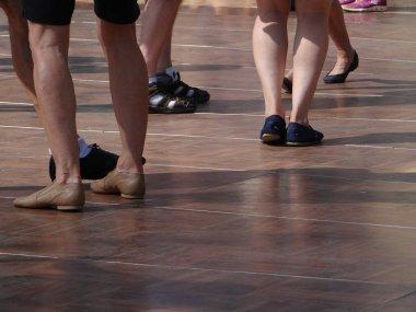 Quickstepping feet of dancers