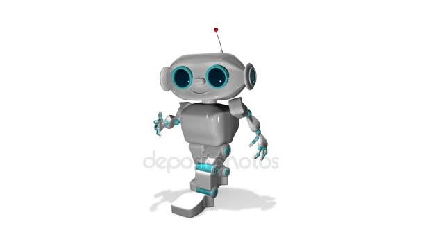 3D animace malého bílého robota