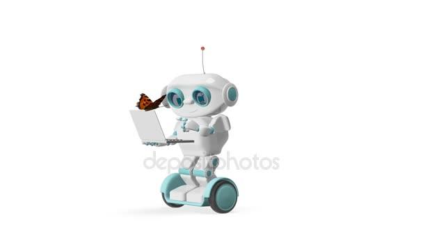 3D animace robota a Butterfly alfa kanál průhledné pozadí