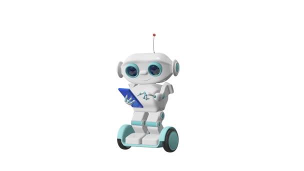 3D animace Robot na skútru s Smartphone a alfa kanál