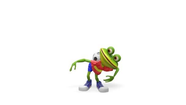 3d animazione giocatore di gioco del calcio di rana con canale alfa su uno sfondo trasparente in loop Video
