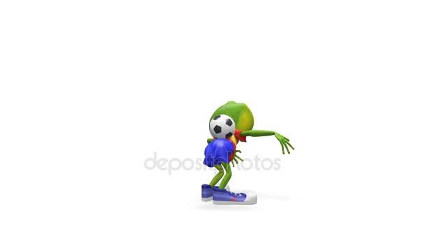 3d animazione Merry Frog giocatore di gioco del calcio con canale alfa su uno sfondo trasparente in loop Video