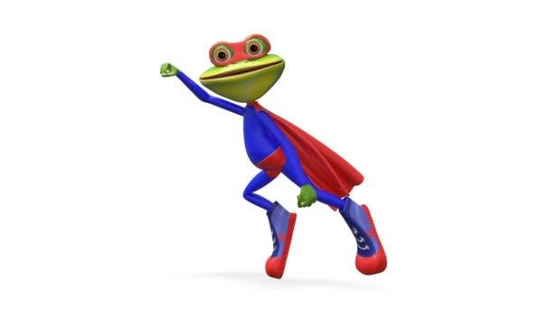 3d animazione Super Merry Frog con canale alfa su uno sfondo trasparente in loop Video