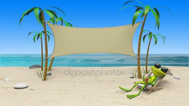 animazione 3D di una rana in una sedia a sdraio sulla spiaggia e priorità bassa del panno
