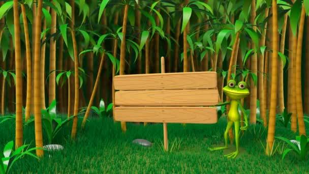 animazione 3D di una rana nella giungla con piastra di legno dei Video in loop