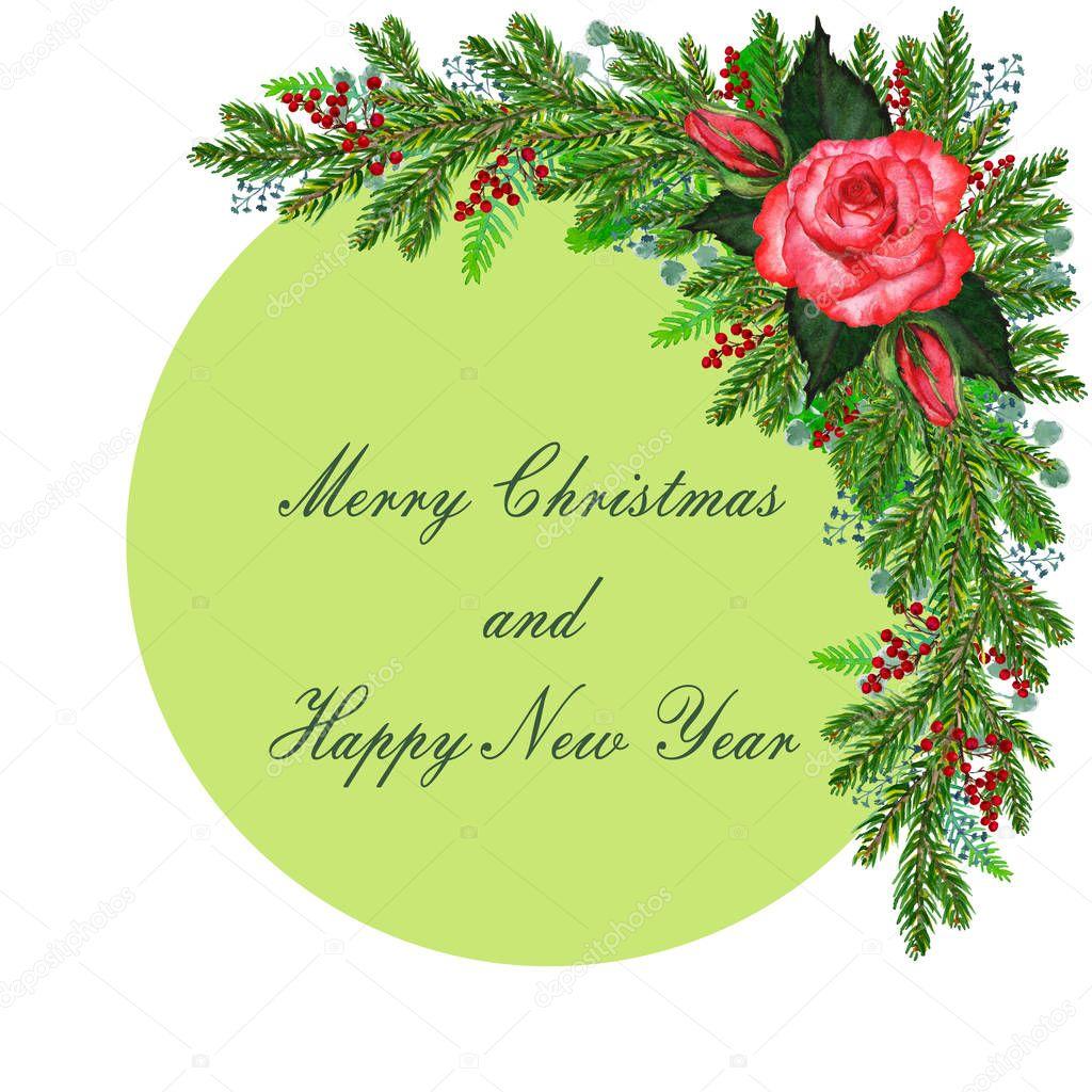 Decoración De Navidad Con Flores Bayas Del Abeto Y La
