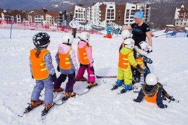 Kids on ski resort