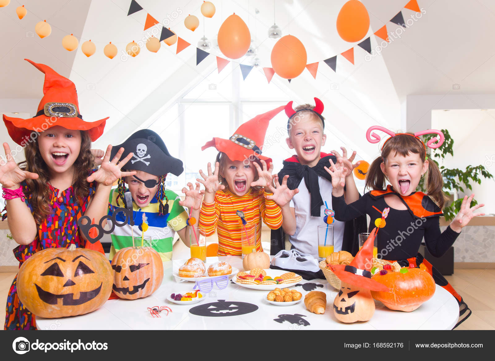 kids on halloween party — stock photo © yanlev #168592176