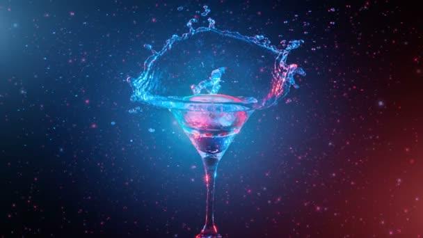 Světlé koktejl s citronem ve skle, stříkající vodou