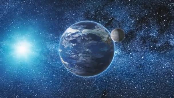Sunrise pohled z vesmíru na planetě Zemi a měsíc